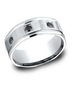 This elegant 8mm comfort-fit band features classic black diamond inlays and satin finish.