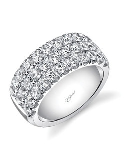 Bold and beautiful, this band features three rows of intricately set diamonds, totaling 2.30 carats.