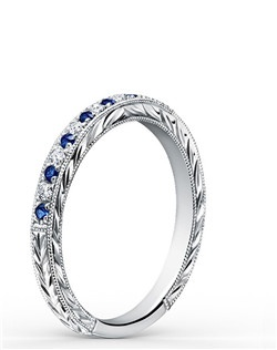 This timeless classic is a ladies' band from the Carmella collection. It features 0.09 ctw of diamonds and 0.18 ctw of blue sapphires. The signature handcrafted details include wheat hand engravings and milgrain edging. Wedding band is also available as shown featuring pink sapphires (K1170VD-B), all diamonds (K1170D-B), rose gold (K1170DP-B), or yellow gold (K1170DY-B).