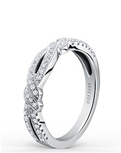 This romantic design is a split shank ladies' band from the Pirouetta collection. It features 0.23 ctw of diamonds and signature handcrafted milgrain edging. Matching engagement ring is also available as shown (K133R).
