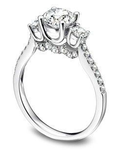 Platinum and diamond three stone semi-mount with round side stones.