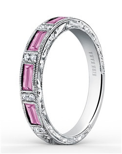 This deco inspired classic is an artistic design from the Charlotte collection. It features 0.06 ctw of diamonds and 0.74 ctw of pink sapphires. The signature handcrafted details include scroll hand engravings and milgrain edging. Wedding band is also available as shown featuring all diamonds (SS6685D-B), blue sapphires (SS6685-B1), green tsavorites (SS6685TS-B1), or red rubies (SS6685R-B1). Matching engagement ring is also available as shown featuring pink sapphires (SS6685P-R).