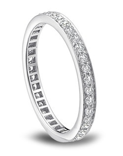 Platinum eternity band with channel set diamonds by American Jewelry Designs.