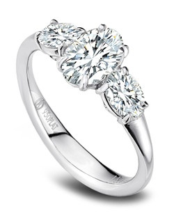 Precision Set platinum silk three stone semi-mount with 2 ovals equaling 0.50ctw, center 0.80CT.