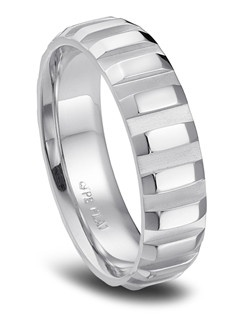 Phyllis Bergman platinum diagonal wedding band for him.