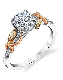 Delicate 18K rose gold flourishes glide over a sculpted band of fiery white diamonds and colorful REVERIE diamonds (0.21 tcw). Available in platinum, 18K white, 18K yellow, or 18K rose gold. All Parade Design styles can be customized upon request.