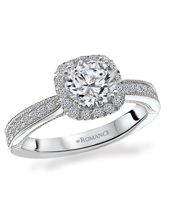 Romance Diamond Ring in 18kt White Gold with Milgrain Detail. Total Diamond weight 1/3 carat, not including center stone. Created for 1ct center. Also available in yellow gold, 14kt gold, palladium and platinum. Matching straight band available.