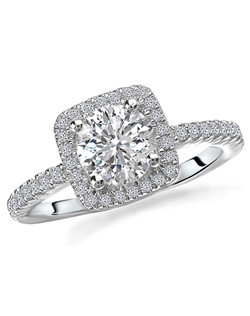 Romance Round Diamond Ring in 18kt White Gold with Square Halo. Total diamond weight 1/4 carat, not including center stone. Created for 1ct center. Total diamond weight 1/5 carat not including center stone. Created for 1ct center.