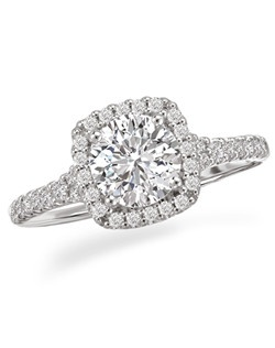 Cushion Shaped Halo Diamond Ring in 18kt White Gold. Total diamond weight 3/8 carat not including center stone. Created for 1ct center. Also available in 14kt gold, palladium and platinum. Matching wedding band available.