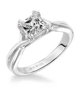 Solitude, Classic Diamond Solitare Engagement Ring with Round Center Stone Set in a Split Prong Head. Available in Platinum, 18K and 14K gold. Price listed below is for the setting only. Settings can be custom made to fit any size or shape center stone. Matching band available - Style number V153-L
