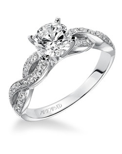 Gabrielle, Contemporary Diamond engagement ring with round center stone and pave set diamonds. Available in Platinum, 18K and 14K gold. Price listed below is for the setting only. Settings can be custom made to fit any size or shape center stone. Matching band available - Style number V158W-L