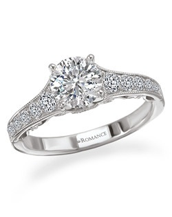 Graduated Diamond Semi-Mount Engagement Ring with Round Center peg head in 18kt White Gold with Milgrain and Scroll Detail. Total diamond weight 3/8 carat not including center stone. Created for 1ct princess center. Also available in yellow gold, 14kt gold, palladium and platinum. Matching contoured wedding band available.