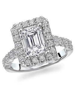 Emerald Cut Halo Diamond Ring with Round Micro-Set Side Stones in 18kt White Gold. Total diamond weight 7/8 carat, not including center stone. Created for 1ct center, but also created for ¾ct and 1½ ct centers. Also available in two-tone rose gold, 14kt gold, palladium and platinum. Matching bands available.