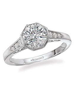 Octagon Shaped Halo Diamond Ring with Beaded Detail and Round Center in 18kt White Gold.  Total diamond weight 1/8 carat not including center stone. Created for 1ct center. Also available in 14kt gold, palladium and platinum. Matching wedding band available.