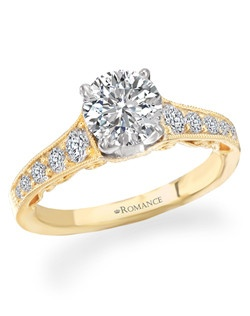 Graduated Diamond Semi-Mount Engagement Ring in 18kt Yellow Gold with Milgrain and Scroll Detail. Total diamond weight 3/8 carat not including center stone. Created for 1ct center. Also available in white gold, 14kt gold, palladium and platinum. Matching wedding band available.