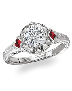 Round Halo Semi-Mount Vintage Diamond and Ruby Ring in 18kt White Gold with Engraved Design.  Total diamond weight 1/8 carat not including center stone. Ruby 1/8 total gem weight. Created for 1ct center. Also available in Tsavorite and Diamond or Sapphire and Diamond combinations, 14kt gold, palladium and platinum. Matching wedding band available.