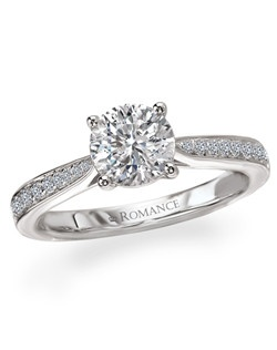 Tapered Trellis Design Diamond Ring in 18kt White Gold. Total diamond weight 1/5 carat not including center stone. Created for 1ct center. Also available in 14kt gold, palladium and platinum. Matching wedding band available.