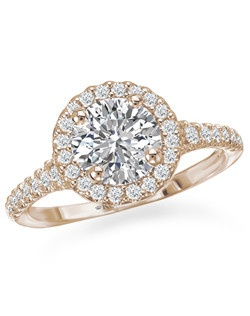 Exquisite Semi-Mount Round Halo Diamond Romance Engagement Ring in 18kt Rose Gold. Total diamond weight 1/3 carat not including center stone. Created for 1ct center. Also available in 18kt white gold, 14kt gold, palladium and platinum. Matching wedding band available.