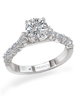 Round Diamond Semi-Mount Solitaire Ring with Micro Set band in 18kt White Gold.  Total diamond weight 3/8 carat not including center stone. Created for 1ct round peg head center. Also available in 14kt gold, palladium and platinum. Matching wedding band available.