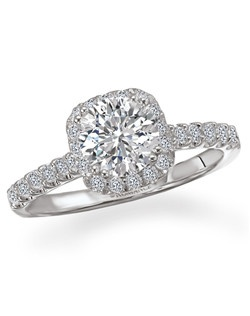 Dramatic Semi-Mount Cushion Style Halo Diamond Romance Engagement Ring in 18kt White Gold. Total diamond weight 1/3 carat not including center stone. Created for 1ct cushion center. Other styles include princess or emerald cut centers. Also available in 14kt gold, palladium and platinum. Matching wedding band available.