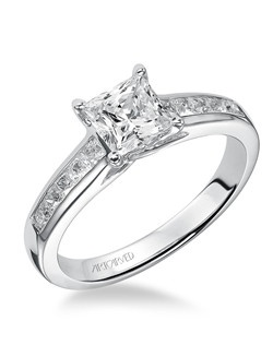 Alena, Classic princess cut channel set engagement ring. Available in Platinum, 18K and 14K gold. Price listed below is for the setting only. Settings can be custom made to fit any size or shape center stone. Matching band available - Style number V410W-L