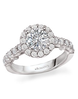 Round Halo Diamond Semi-Mount Ring in 18kt White Gold. Total diamond weight 5/8 carat not including center stone. Created for 1ct round center. Alternate style features a cushion shaped halo head with round center. Also available in 14kt gold, palladium and platinum. Matching wedding band available.