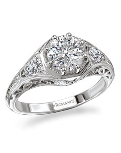 Octagon Shaped Vintage Diamond Halo RIng in 18kt White Gold with Side and Shank Detail. Total diamond weight 1/4 carat not including center stone. Created for 1ct center. Also available in 14kt gold, palladium and platinum. Matching wedding band available.
