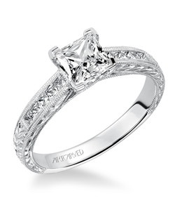 Alani, Channel Set Hand Engraved Diamond Engagement Ring with Milgrain Detail. Available in Platinum, 18K and 14K gold. Price listed below is for the setting only.  Settings can be custom made to fit any size or shape center stone. Matching band available - Style number V510W-L