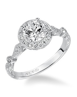 Crystal, Vintage Inspired Diamond Halo Engagement Ring with Hand Engraved and Milgrain Detail.  Available in Platinum, 18K and 14K gold. Price listed below is for the setting only. Total weight of semi-mount 1/5 Ct. Settings can be custom made to fit any size or shape center stone. Matching band available - Style number V518W-L