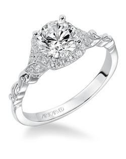Yvette, Prong Set Halo Diamond Engagement Ring. Available in Platinum, 18K and 14K gold. Price listed below is for the setting only. Settings can be custom made to fit any size or shape center stone. Matching band available - Style number V525W-L