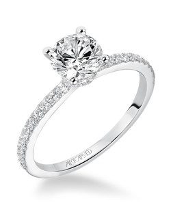 Sybil, Classic Prong Set Diamond Engagement Ring with diamond accented band. Available in Platinum, 18K and 14K gold. Price listed below is for the setting only. Total weight of semi-mount 1/3 Ct. Settings can be custom made to fit any size or shape center stone. Matching band available - Style number V544W-L