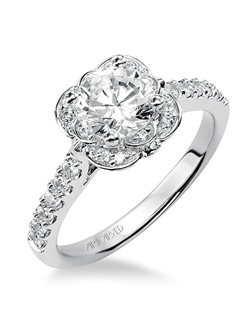 Skyler, Contemporary Diamond engagement ring featuring an exclusive ArtCarved setting with prong set side diamonds, floral inspired halo and pave band.  Available in Platinum, 18K and 14K gold. Price listed below is for the setting only. Settings can be custom made to fit any size or shape center stone.
