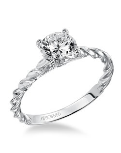 Joanna, Contemporary Classic Diamond solitaire engagement ring featuring delicate rope design. Available in Platinum, 18K and 14K gold. Price listed below is for the setting only.  Settings can be custom made to fit any size or shape center stone. Matching band available - Style number V460W-L