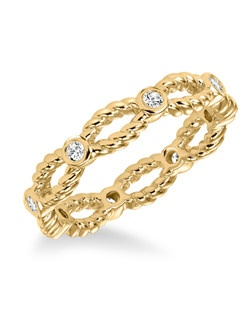 Contemporary bezel set diamond band with rope detail totaling 1/4 carat. Can be work as stackable ring, wedding or anniversary band. Available in white (33-V16A4W65-L), yellow and rose (33-V16A4R65-L) gold.