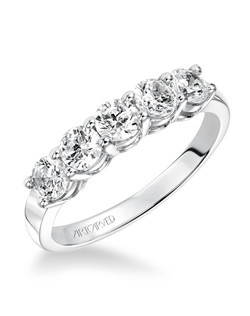 5 stone round diamond with share prong setting Anniversary band.