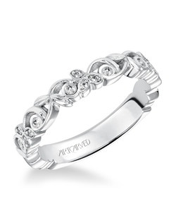 Fiona, White Gold Stackable Diamond Band. Can be worn as stackable ring, wedding or anniversary band.