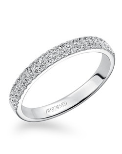 Contemporary anniversary band with two rows of sparkling Pave set diamonds totaling 1/3 carat. Can be worn as stackable ring, wedding or anniversary band.