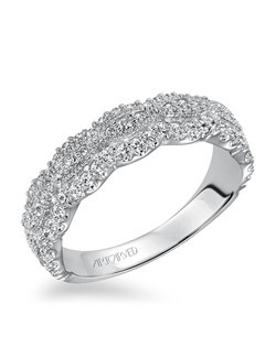 Fashion anniversary band with milgrain design surrounding round diamonds in the middle and round prong set diamonds on top and bottom. Can be worn as stackable ring, wedding or anniversary band.