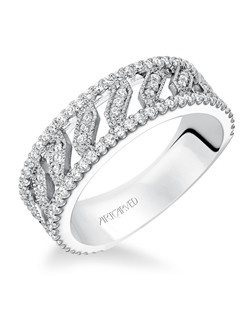 Contemporary prong set diamond fashion anniversary band with intricate open work pattern, totaling 1/2 carat.