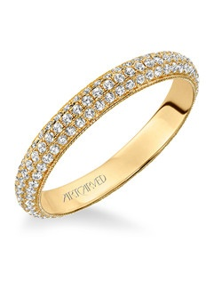 Contemporary pave set diamond eternity band with milgrain detail, totaling 3/4 carat. Can be worn as stackable ring, wedding or anniversary band. Available in white and yellow gold.