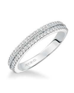 Double row prong set diamond wedding band with milgrain detail to match 31-V565