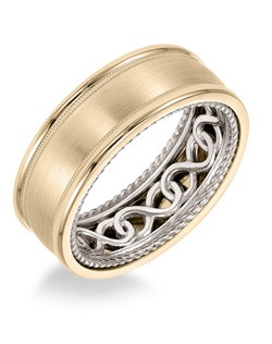 Men's Wedding Band with infinity pattern with rope edge inside and flat profile with bevel edge in 8mm width. Available in multiple white, yellow and rose gold color combinations. Available in Platinum, 18K and 14K gold.