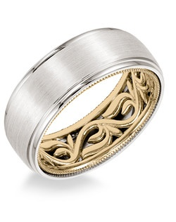 Men's Wedding Band with vine pattern and milgrain edge inside and dome profile with round edge in 8mm width. Available in multiple white, yellow and rose gold color combinations. Available in Platinum, 18K and 14K gold.