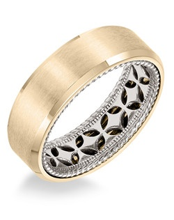 Men's Wedding Band with diamond pattern and rope edge inside and flat profile with bevel edge in 7mm width. Available in multiple white, yellow and rose gold color combinations. Available in Platinum, 18K and 14K gold.