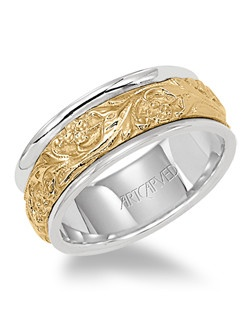 8mm wide, Engraved Men's two tone wedding band with 14KT yellow gold floral inlay pattern. Available in Platinum, 18K White or Yellow Gold, 14K White or Yellow Gold or Palladium. Lyric