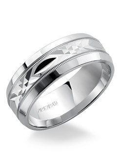 6mm wide, Men's wedding band with diamond cut engraved milgrain detailed inlay.  Available in Platinum, 18K White or Yellow Gold, 14K White or Yellow Gold or Palladium. Fondest