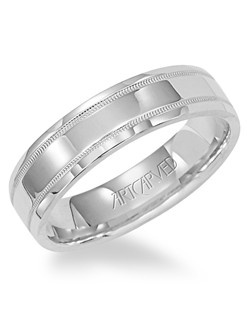 5.5mm wide men's wedding band with milgrain detail. Perfection