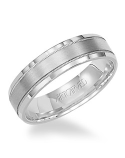 5.5mm wide Men's wedding band with bevel and milgrain edge and satin finish. Available in Platinum, 18K White or Yellow Gold, 14K White or Yellow Gold or Palladium. Everlove
