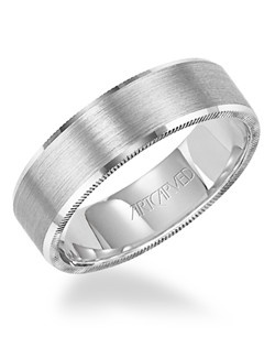 6mm wide, Men's comfort fit, engraved bevel edged wedding band with satin finish and detailed edges. Available in Platinum, 18K White or Yellow Gold, 14K White or Yellow Gold or Palladium. Elliot
