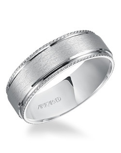 7mm men's wedding band with wire finish and rope accent. Available in Platinum, 18K White or Yellow Gold, 14K White or Yellow Gold or Palladium.  James